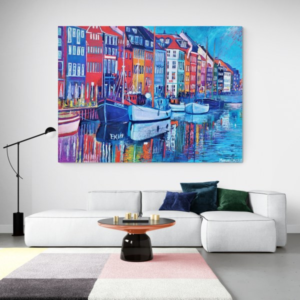 New Boats in Nyhavn 200X150, Oil on canvas, Marios Orozco