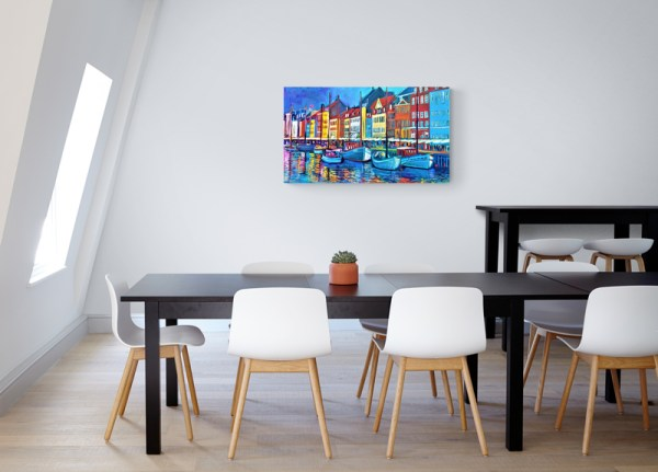 Nyhavn With Kings Blue 117X68,5 CM Oil on canvas By Marios Orozco