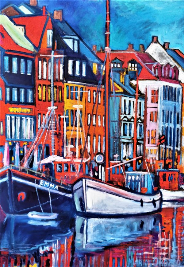Nyhavn 2021 70X100 CM Oil on canvas By Marios Orozco