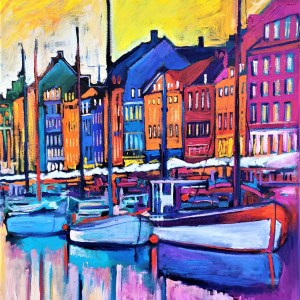 Nyhavn Yellow Morning 89X115,5 CM Oil on canvas By Marios Orozco
