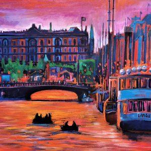 Orange Sunset In Nyhavn 145X95 CM Oil on canvas By Marios Orozco
