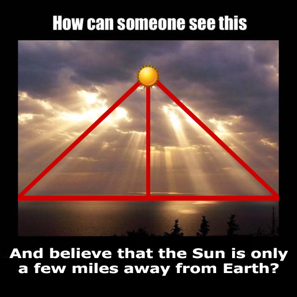 Flat earth explanations places the sun a few miles above earth