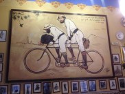 While wandering I came across the famous 4 Gats restaurant. Picasso designed the menu for the restaurant. The painting of the men on the bicycle in by Ramone Casas. Ramone Cases, Picasso, and others came to this restaurant quite frequently.