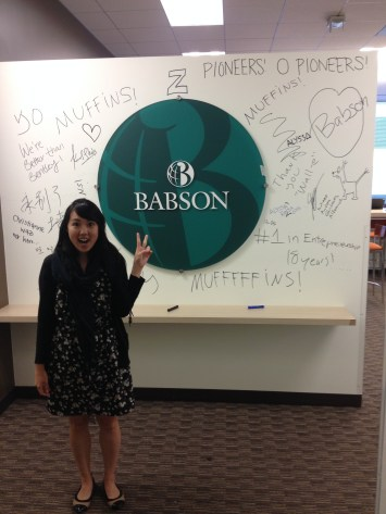 Eiko, assistant director, lets us draw on the wall before it's torn down.