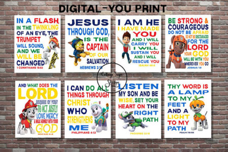 Christian Paw Patrol Scripture poster set printable