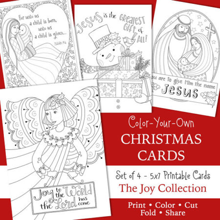 Easy Coloring Religious Christmas card set