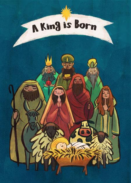 Digital King is Born Nativity graphic scene
