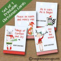 Digital Religious Kids Woodland Christmas card set