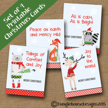 Digital Religious Kids Woodland Christmas card set