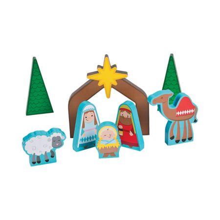 Wooden Christmas Nativity play set kids