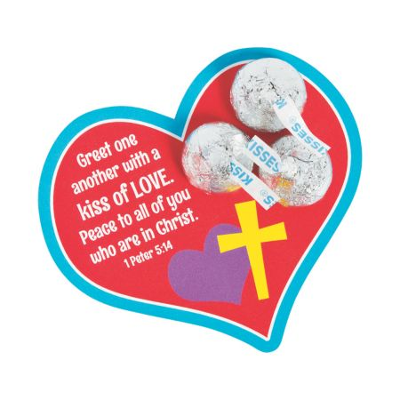 Religious Valentines Day Hersheys Kisses with cards