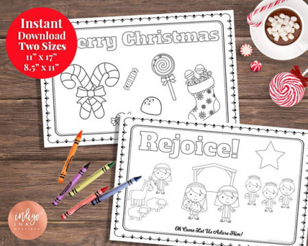 Printable Kids Merry Christmas coloring place mat