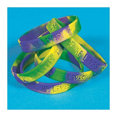 Christian Easter rubber bracelet set for kids