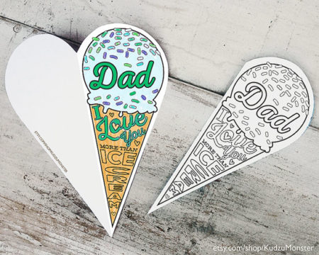 Printable Fathers Day card coloring craft