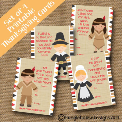 Printable Kids Religious Thanksgiving cards