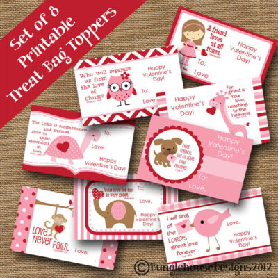 Printable Pink Christian Valentine treat toppers