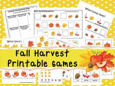 Digital Fall Harvest Kids Game Set