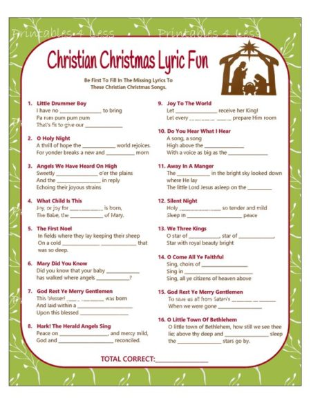 picture regarding Christmas Carol Games Printable called Non secular Family members Xmas Occasion Strategies