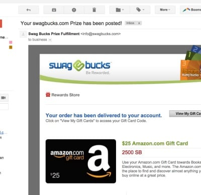 A screenshot of my Amazon gift card I redeemed from earning points with Swagbucks