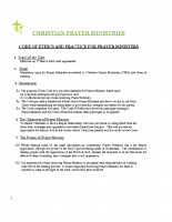 Code of Ethics and Practice for Prayer Ministers