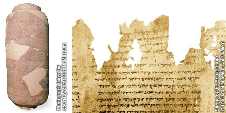 Manuscripts known as the Dead Sea Scrolls survived for centuries in clay jars stored in caves in a dry climate