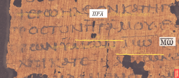 Egerton Papyrus 2 (150 C.E.) Verso Moses Father