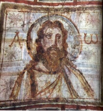 Mural-painting-from-the-catacomb-of-Commodilla.-One-of-the-first-bearded-images-of-Jesus-late-4th-century-419x450