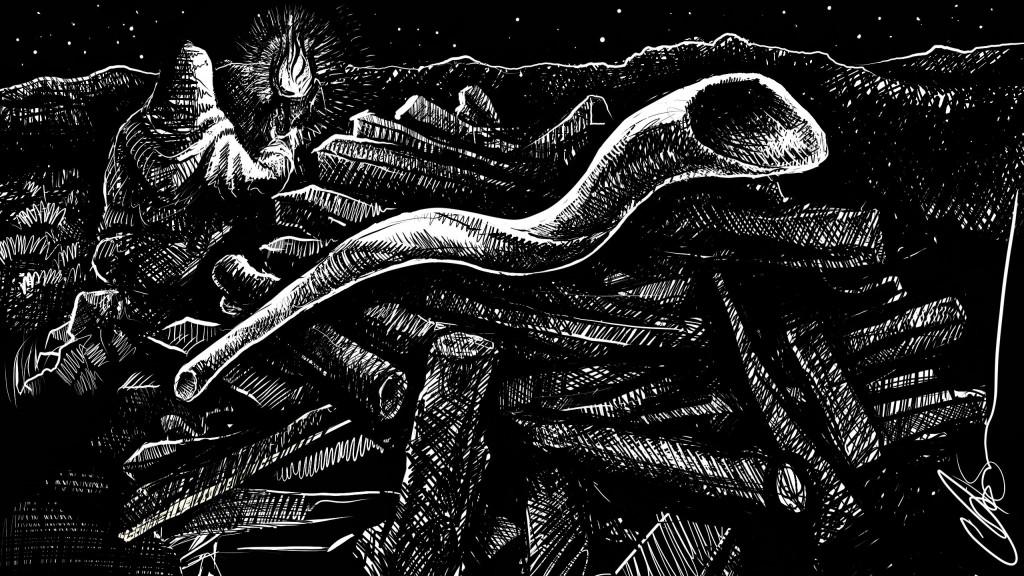 the shofar awaits-inktober01