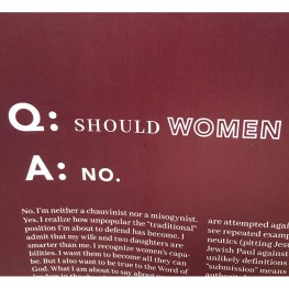 Q. Should Women Be Involved in Church Leadership and Preaching Roles? (A. NO)