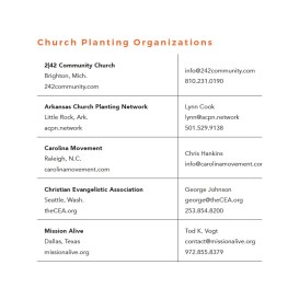 A Listing of Church-Planting Organizations