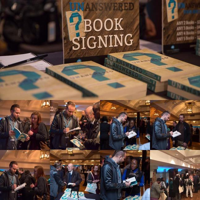 Jeremiah Johnston signing books Unanswered