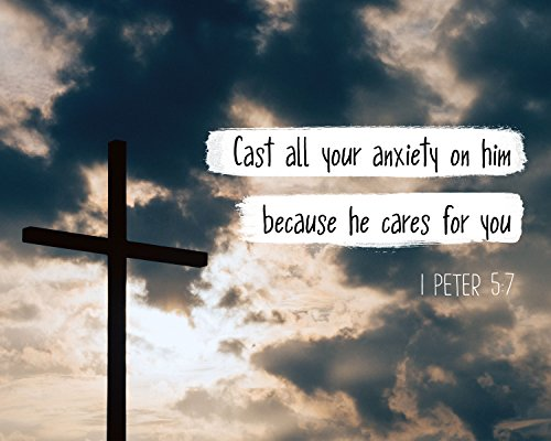 1 Peter 5:7 Cast all your anxiety on him - Christian Poster, Print, Pi