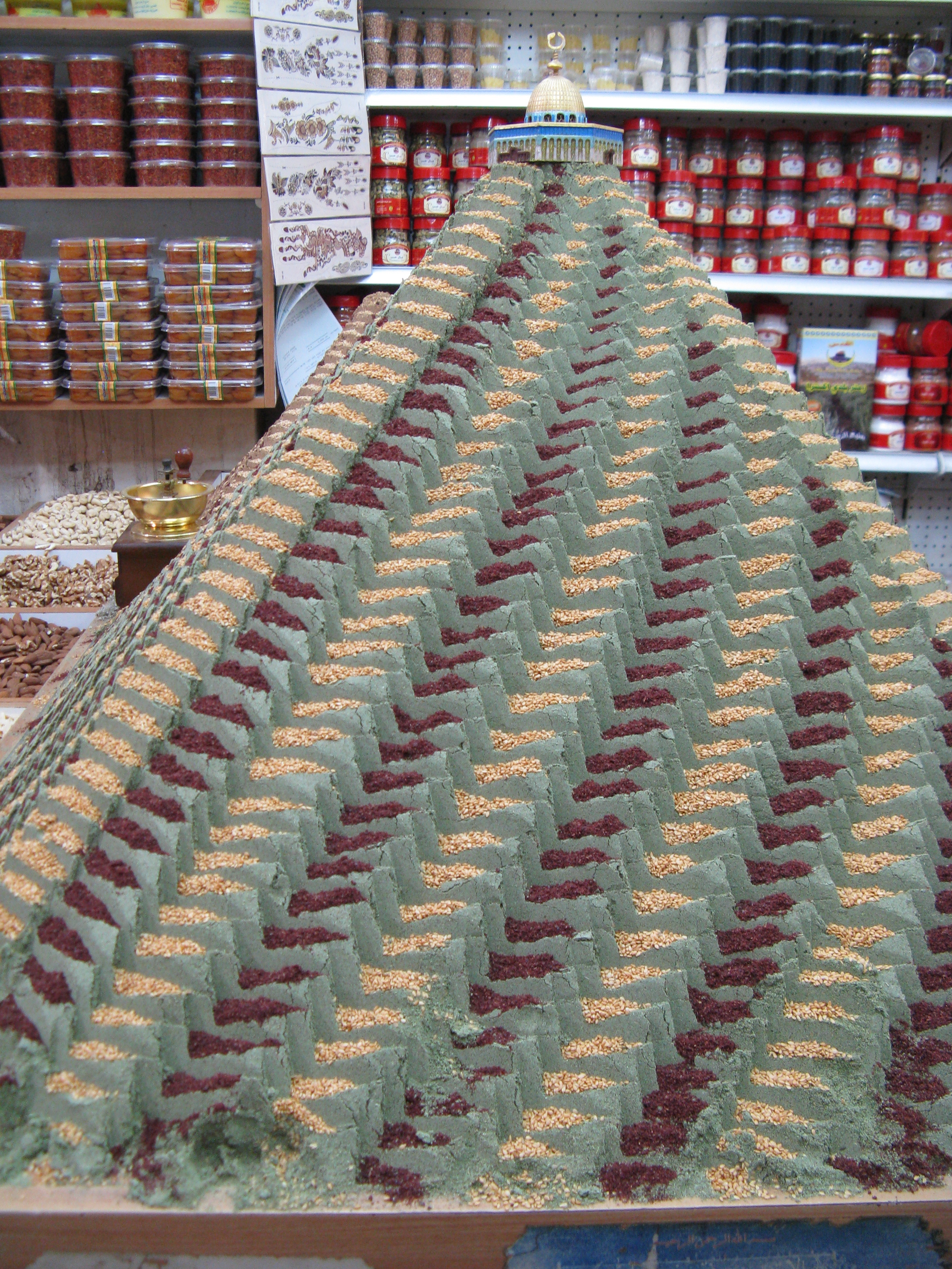 mountain of zaatar at spice vendor in bazaar
