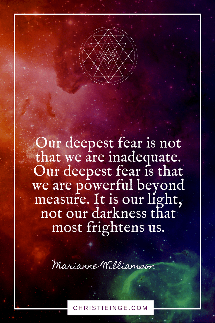 Marianne Williamson Quote on Self Acceptance | Our deepest fear is not that we are inadequate. Our deepest fear is that we are powerful beyond measure. It is our light, not our darkness that most frightens us.