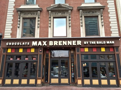 Max Brenner is located on Boylston St., accessible by the MBTA Green Line.