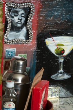 Photo of original painted mixed media work Your Bartender #3 by Christie Mellor