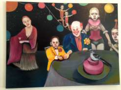 oil painting of circus characters around a table with a lady standing to the side and acrobats in background by Christie Mellor