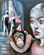 oil painting of a couple standing in water looking out a window as a woman looks at them and a chimpanzee in a party hat and frill looks at us - by Christie Mellor