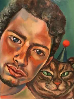 oil painting or a young man and his party-hat-wearing cat by Christie Mellor