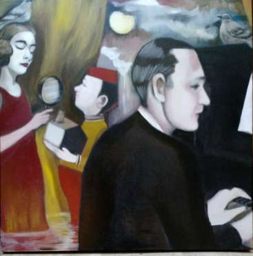oil painting of people standing in ankle-deep water with a fez-wearing messenger handing a box to a lady in a red gown with a bird on her head near a man in evening suit seated playing a piano - by Christie Mellor