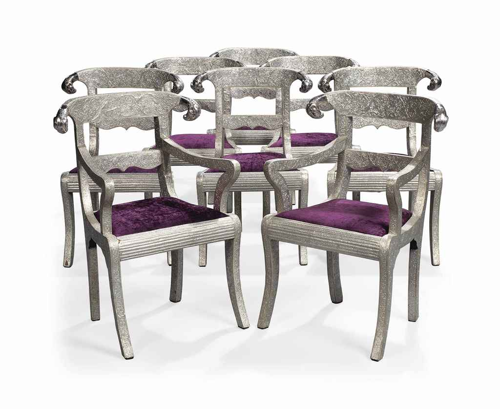 White Metal Chair A Set Of Eight Indian White Metal Veneered Dining Chairs