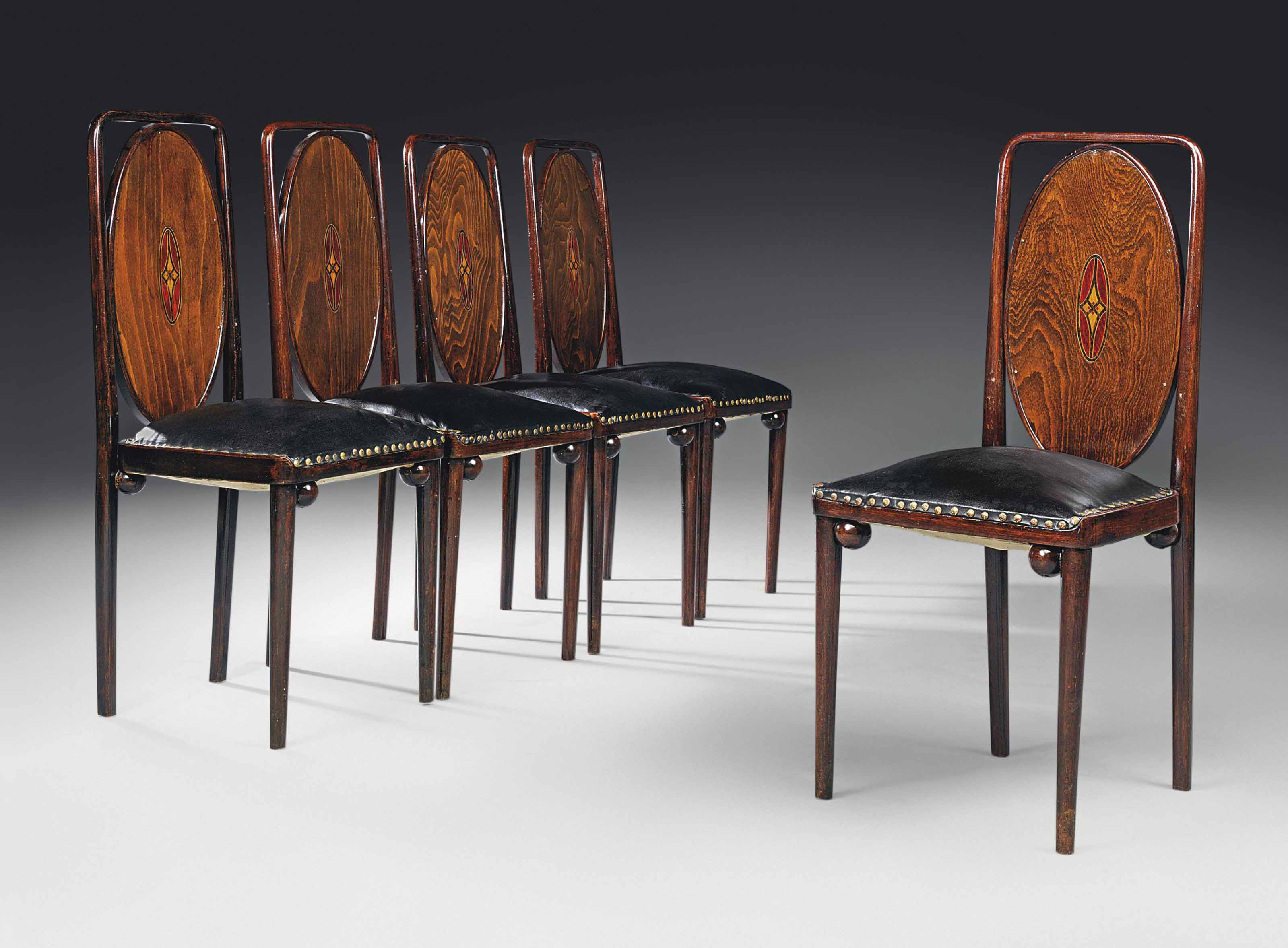 Five Chairs Josef Hoffmann 1870 1956 Attributed Set Of Five