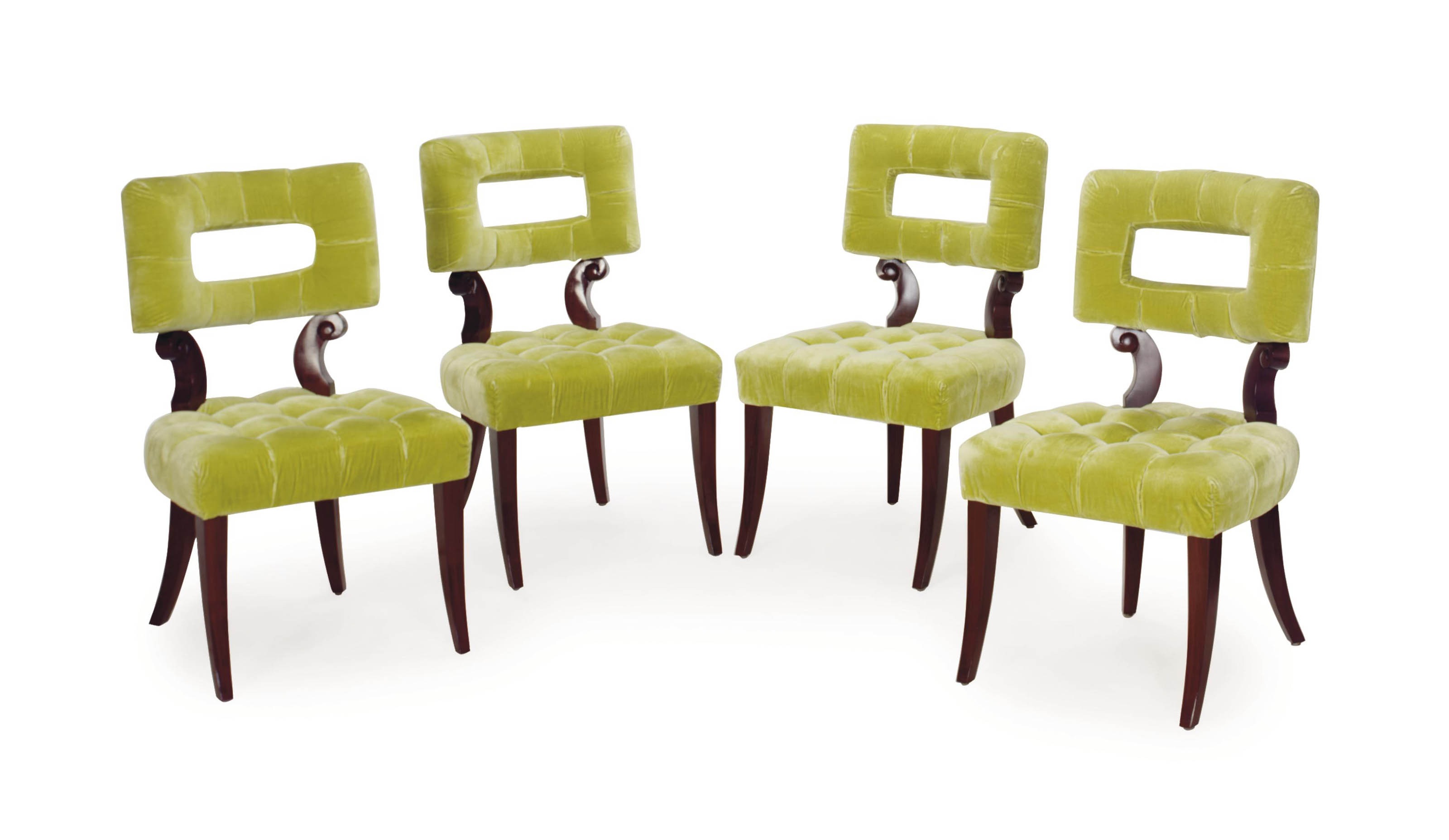 Lime Green Chair A Set Of Ten Mahogany And Lime Green Velvet Upholstered