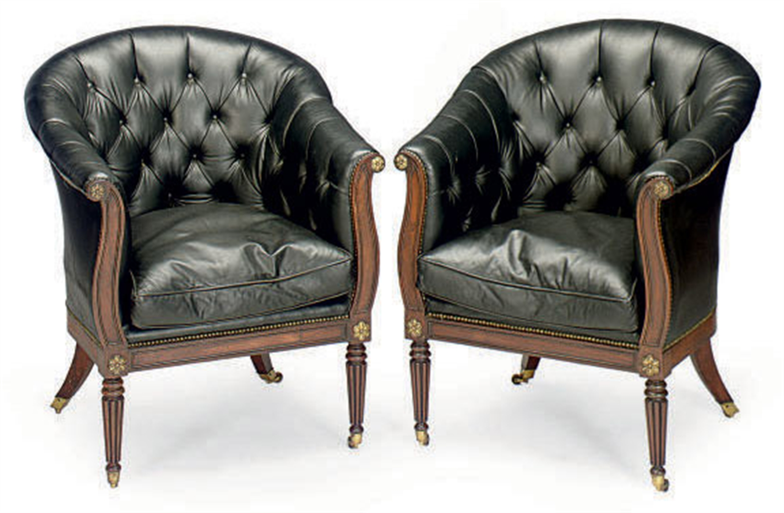 Tufted Chair And A Half A Pair Of English Mahogany And Button Tufted Leather