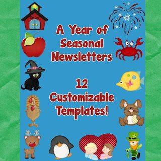 http://www.teacherspayteachers.com/Product/Newsletter-Templates-12-included-Cute-Seasonal-Theme-261667