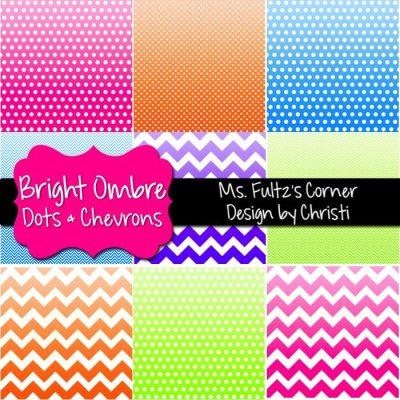 http://www.teacherspayteachers.com/Product/Digital-Papers-Ombre-Bright-Dots-Chevrons-870333