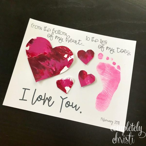 Toddler Valentine footprint craft