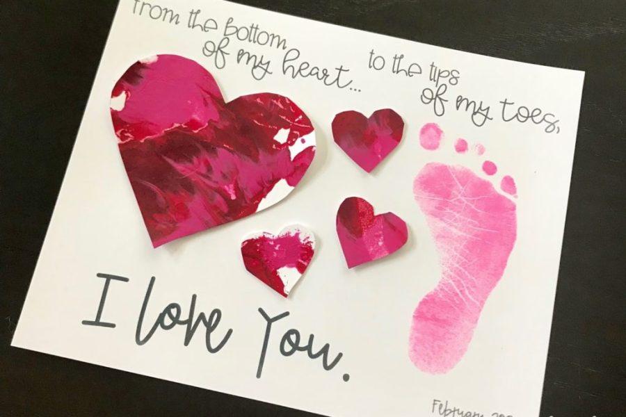 Toddler Valentine footprint craft