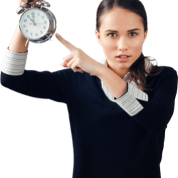 woman pointing at clock because you're late