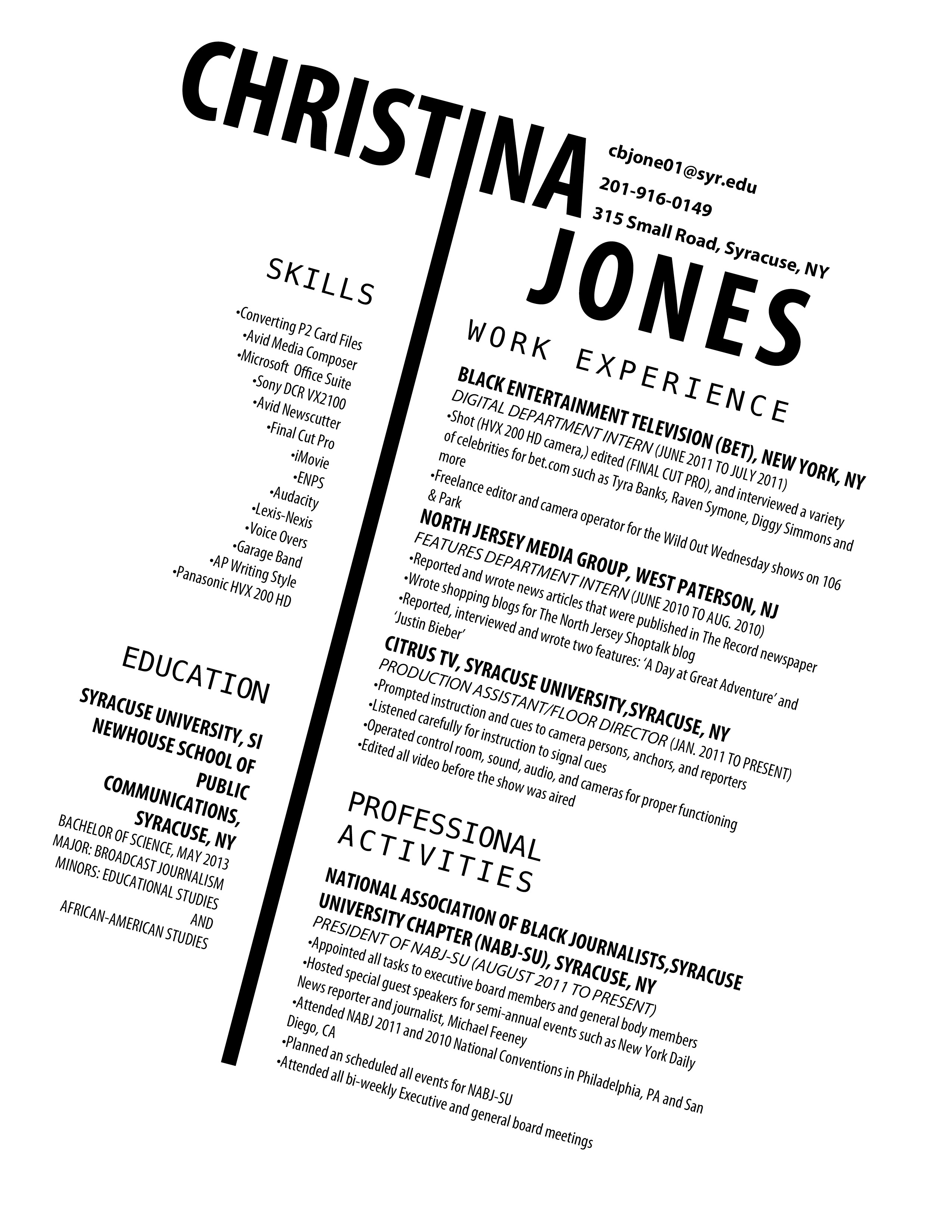 could be an interesting resume for someone applying for a magazine newspaper design job not
